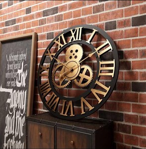Wall Clock Wall Clock Retro Antique Gear Cafe Living