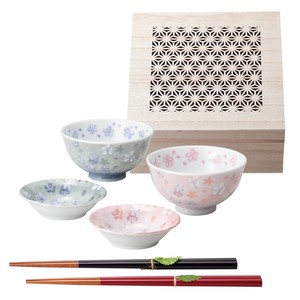Sakura Sakura Couple Rice Bowl Wood Boxed