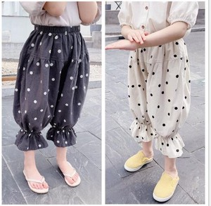Girl Trimming Floral Pattern Leisurely Pants Kids Children's Clothing