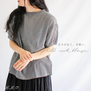 Checkered Stand Frill Blouse