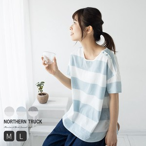 Thick Border Blouse Short Sleeve Ladies Leisurely S/S
