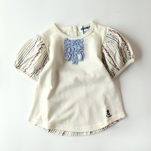 Flower Embroidery Fabric Mesh Jersey Stretch Short Sleeve Blouse