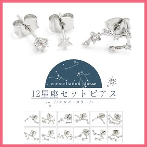 Cubic Constellation 3 Pcs Set Pierced Earring Silver