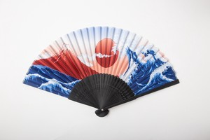 Coloring Japanese Folding Fan - Red Mt. Fuji