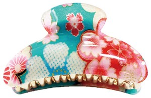 Hair Claw Clip with acrylic coating of Japanese pattern fabric -Sakura - L size Blue