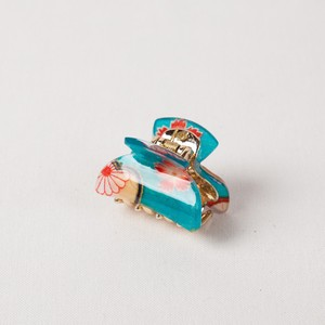 Hair Claw Clip with acrylic coating of Japanese pattern fabric - Sakura mini Blue