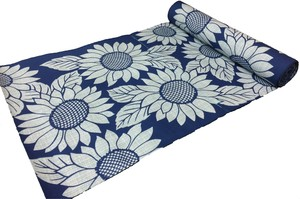 Japanese yukata fabric(sunflowers) blue