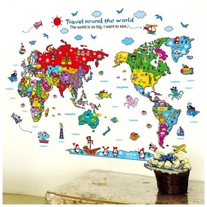 World Map Sticker Wallpaper Indoor Decoration