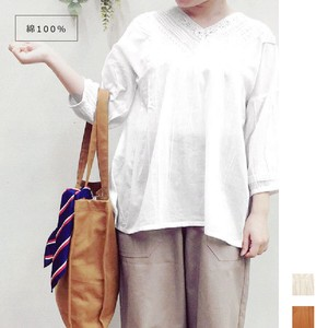 """2020 New Item"" Lace pin Tuck Three-Quarter Length Blouse"