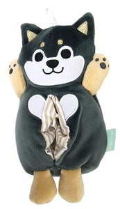 Black Pocket Tissue Box Cover Shiba Dog