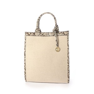 Exotic Leather pin Canvas Vertical Tote Bag