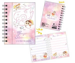 "Release ""Crayon Shin-chan"" Magnet Attached Ring Notebook Fluffy Crayon Pink"