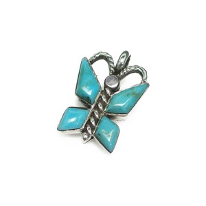 Silver 925 Natural Turquoise Pendant Butterfly Butterfly Silver Pendant