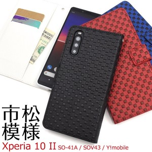 Smartphone Case Xperia SO SO Y!mobile Checkered Pattern Design Notebook Type Case