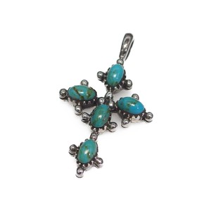 Silver 925 Natural Turquoise Pendant Closs Silver Pendant