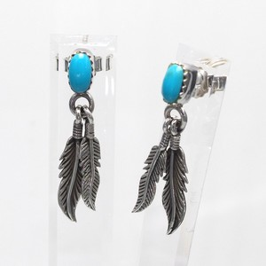 Silver 925 Natural Turquoise Pierced Earring Feather Charm Silver Pierced Earring