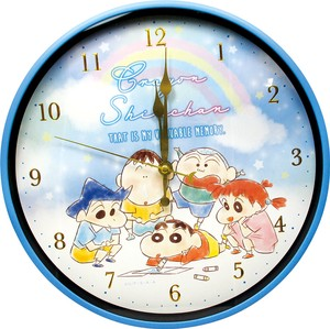 """Crayon Shin-chan"" Index Wall Clock Fluffy Crayon Blue"