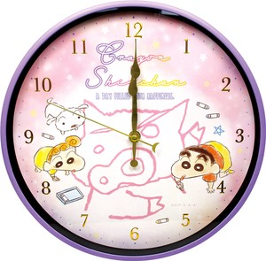 """Crayon Shin-chan"" Index Wall Clock Fluffy Crayon Pink"