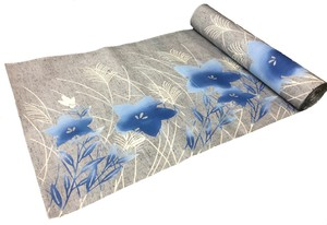 Japanese yukata fabric(chinese bellflowers)(special grey pongee style fabric)