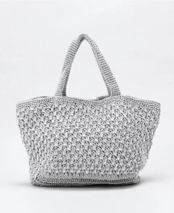 Metallic Hand Bag Hand Knitting
