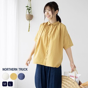 Rack Wide Blouse Shirt Ladies Top Casual Natural