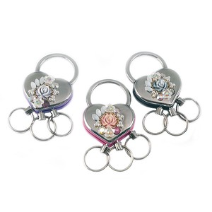 Heart Metal Triple Key Ring Glitter