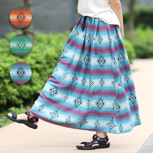 Card Skirt S/S High-waisted Long Ethnic