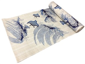 Japanese yukata fabric(provers and waves)(Special brown fabric)