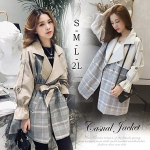 Spring Coat Trench Coat Checkered Switch West Belt