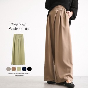 wide pants Ladies High-waisted Elastic Waist Double Button Long