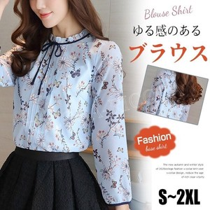 [ 2020NewItem ] Blouse Ladies Long Sleeve Shirt Ribbon Decoration Floral Pattern Top