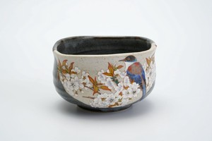 [Kutani Yaki] Japanese Tea Cup Wild Cherry Tree