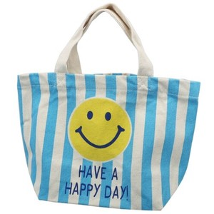 Lunch Tote SMILE BLUE STRIPE Canvas Tote Drawing Series