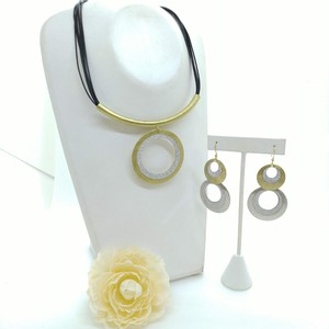 Circle Necklace Pierced Earring Set