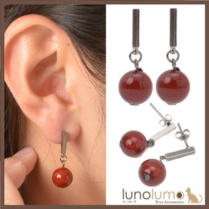 Pierced Earring Ladies Coral Coral Metal Black Red Ball