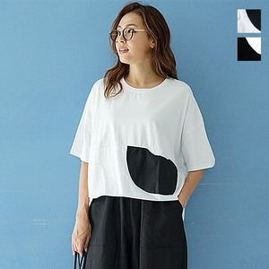 Bi-Color Short Sleeve Short Balloon Wide Cut And Sewn Mono Tone T-shirt