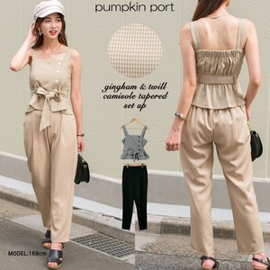 [ 2020NewItem ] Gingham Plain Twill Fabric Ribbon Belt Attached Camisole Tapered Suit Set