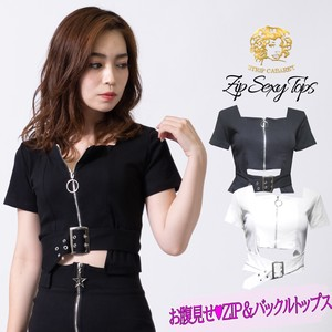 [ 2020NewItem ] T-shirt Short Short Sleeve Buckle Fastener Top Sexy