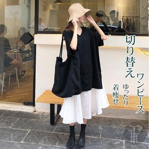 Slim Flare Long Dress Wearing Ladies T-shirt One-piece Dress Short Sleeve