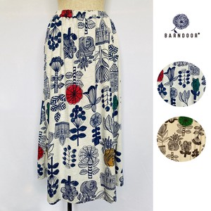 [ 2020NewItem ] Scandinavia Floral Pattern Print Flare Skirt Lining Attached