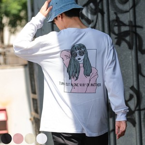 A/W Unisex Retro Girl Print Big Long Sleeve T-shirt
