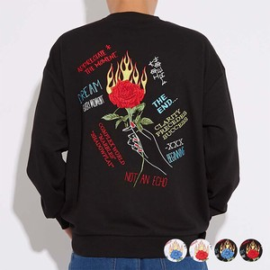 A/W Unisex rose Embroidery Big Fleece Sweat Sweatshirt
