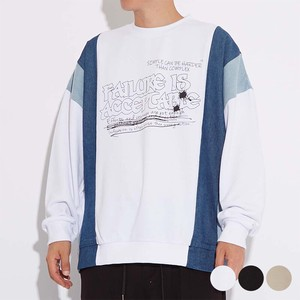 A/W Unisex Denim Switching Color Scheme Big Fleece Sweat Sweatshirt