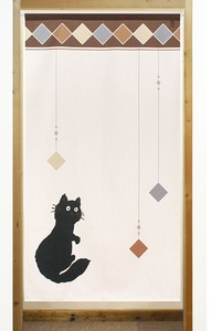 Build-To-Order Manufacturing Japanese Noren Curtain Diamond cat Cat