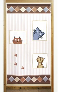 Build-To-Order Manufacturing Japanese Noren Curtain Square cat Cat