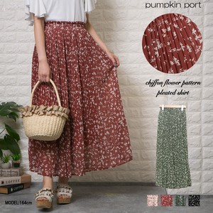 [ 2020NewItem ] Chiffon Single Color Floral Pattern Long Elase Pleats Skirt