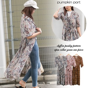 [ 2020NewItem ] Chiffon Paisley Robe Long One-piece Dress