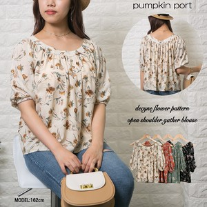 [ 2020NewItem ] Floral Pattern Front Gather Blouse