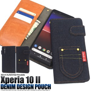 Smartphone Case Xperia Y!mobile Pocket Denim Design Notebook Type Case