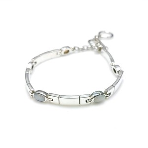 Silver 925 Plate Silver Bracelet Synthetic White Opal